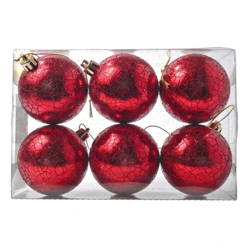 6 cm kugler, rødt crackle glitter, 6 stk i boks-01
