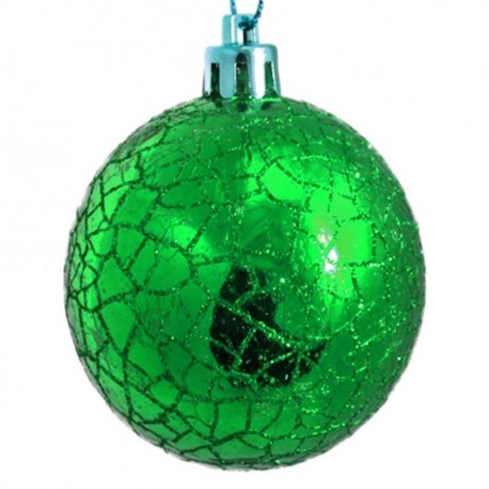6 cm kugler, crackle glitter, grøn, 6 stk i boks-31