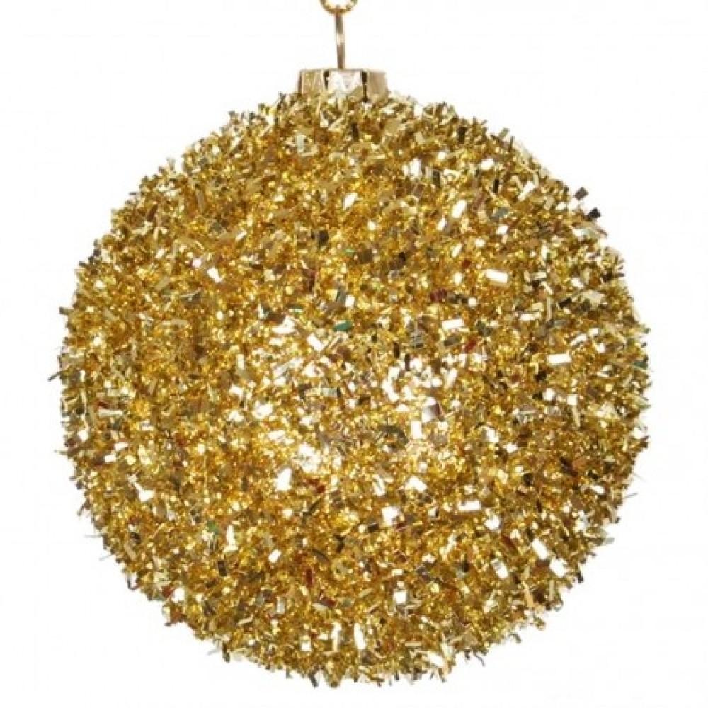 6 cm kugler, grovglitter, guld, 6 stk i boks-31