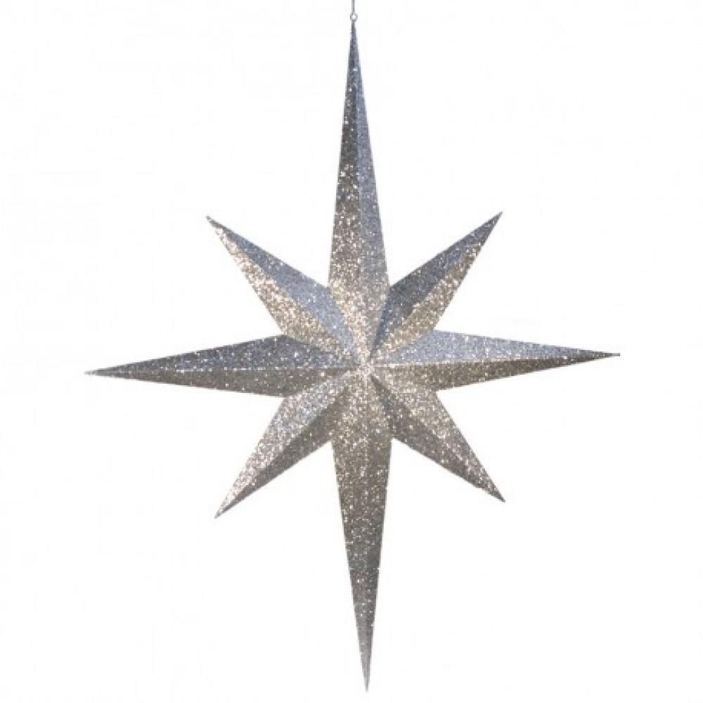 100 cm stjerne, glitter, sølv-31