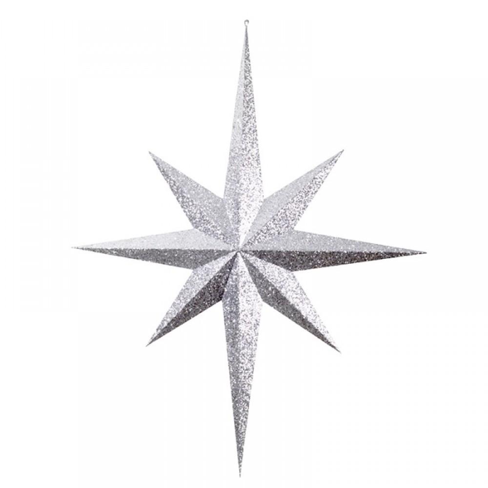 100 cm stjerne, glitter, sølv-01