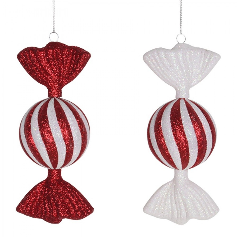 2 stk. 18 cm slik, rød/hvid glitter, 2 assort. pris for 2 stk.-31