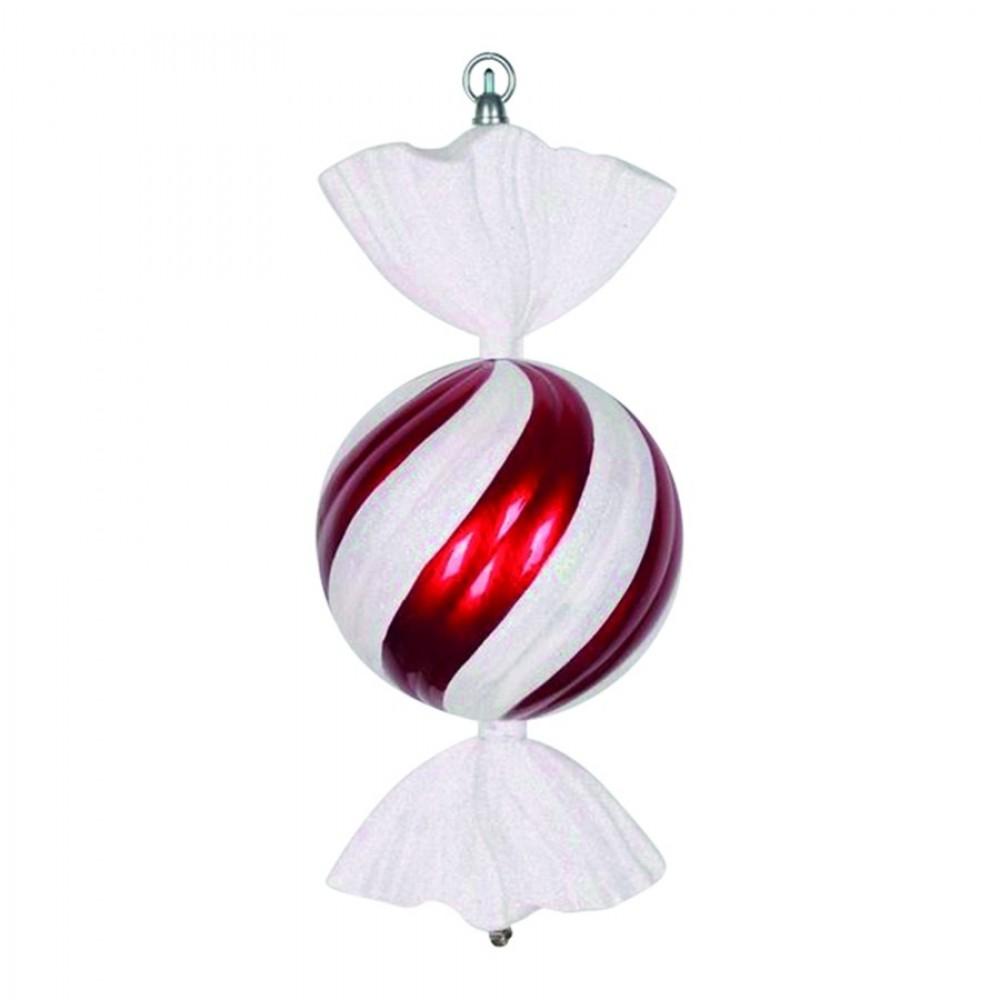 33 cm slik, rød m/hvidt glitter-31