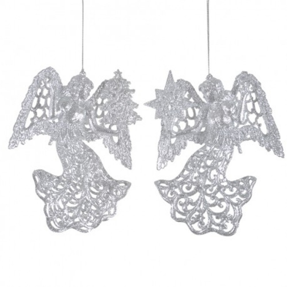 12 cm engle, sølvglitter, sæt a 2 stk.-31