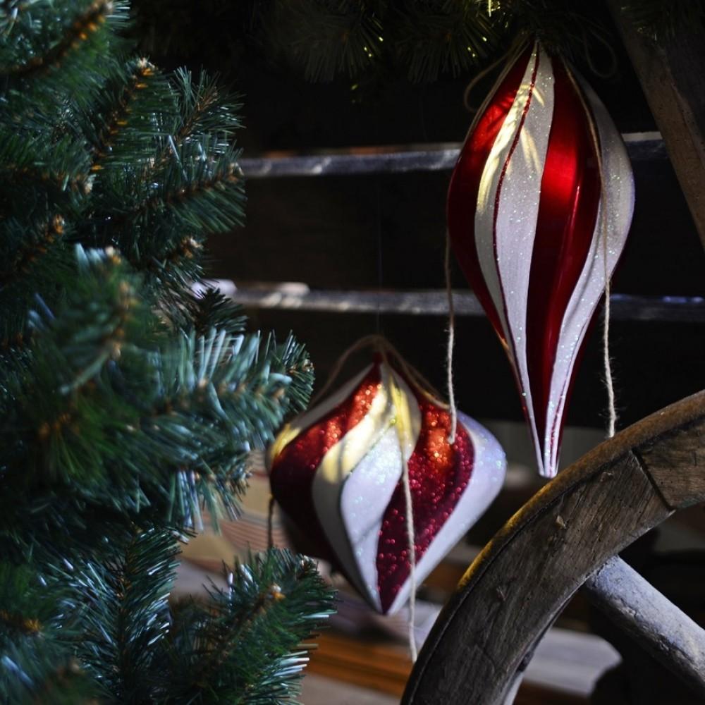 40 cm spiraltop, rød m/hvidt glitter-01