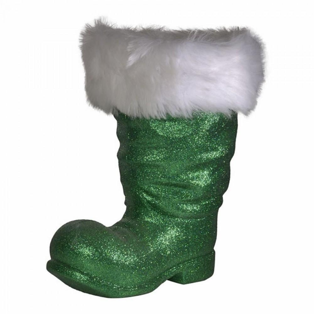 Julemandens støvle, 40 cm grønt glitter-33