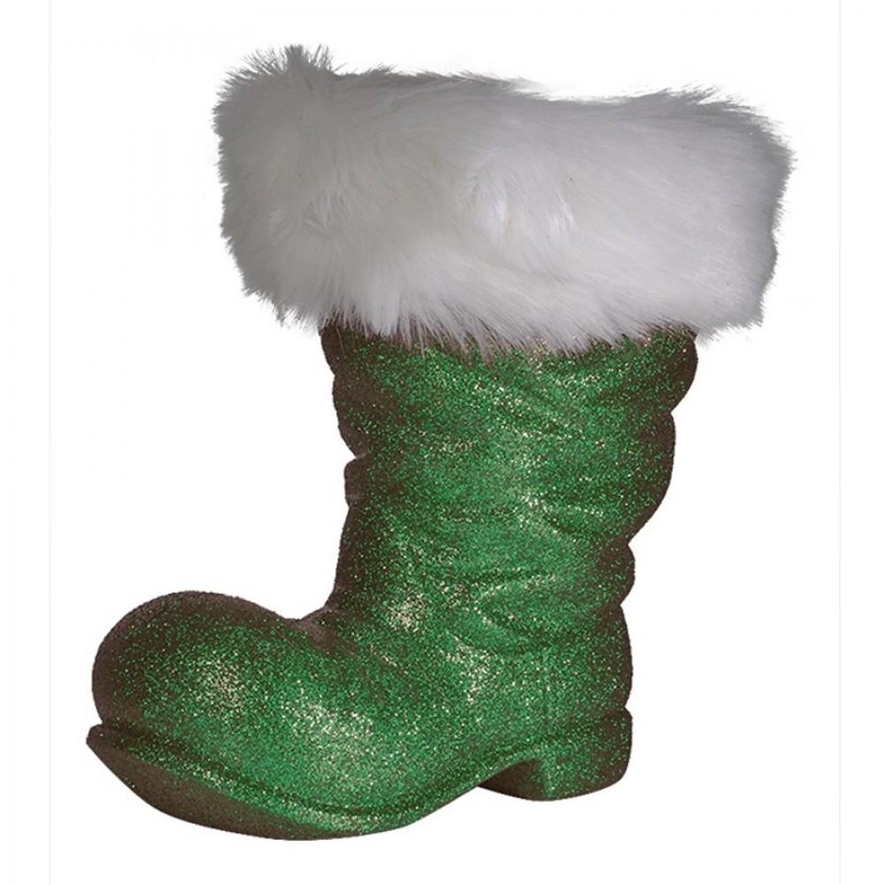 Julemandens støvle, 26 cm grønt glitter-33