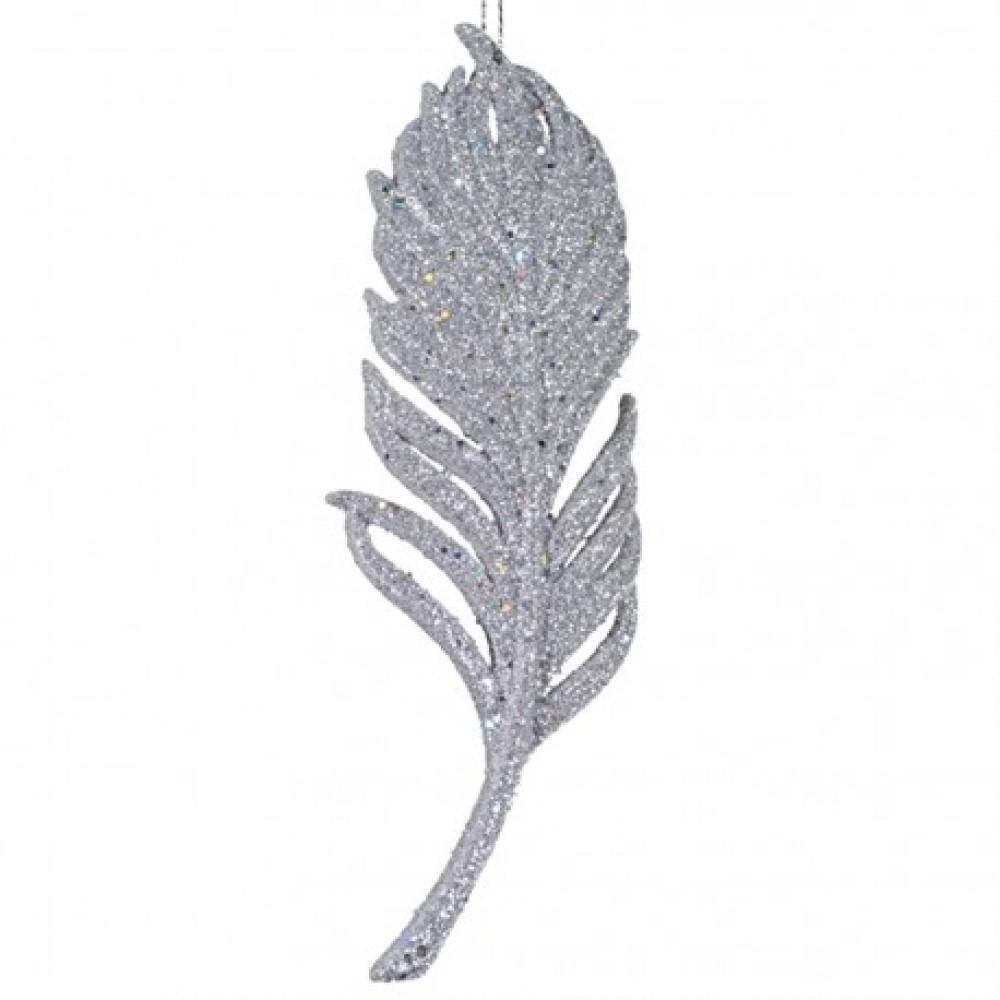 15 cm fjer-ornament, glitter, sølv-31