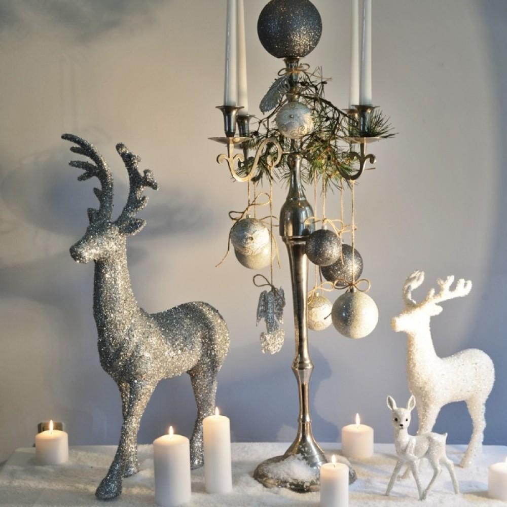 15 cm fjer-ornament, glitter, sølv-01