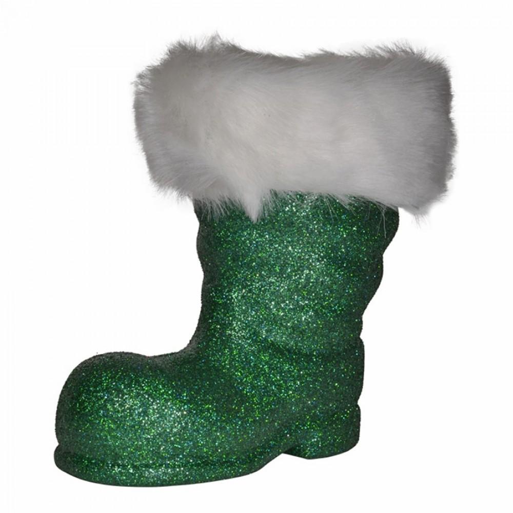 Julemandens støvle, 19 cm grønt glitter-33