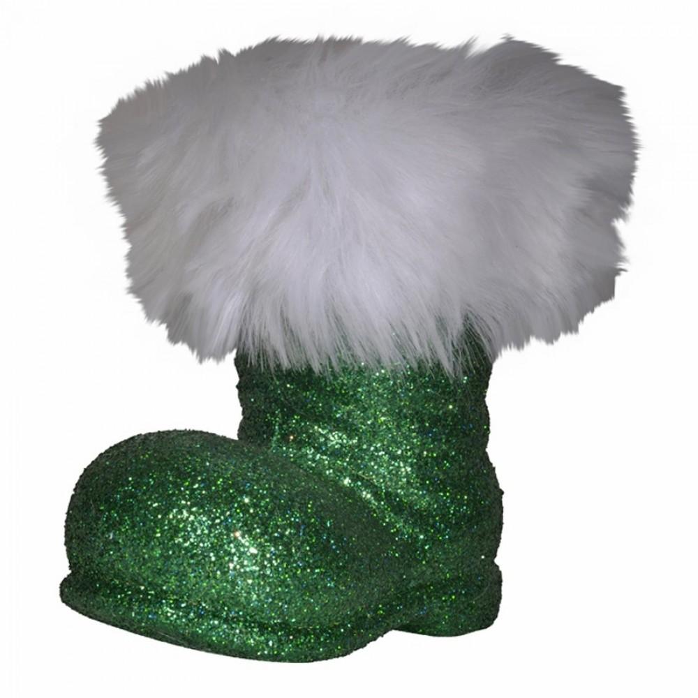Julemandens støvle, 13 cm grønt glitter-33