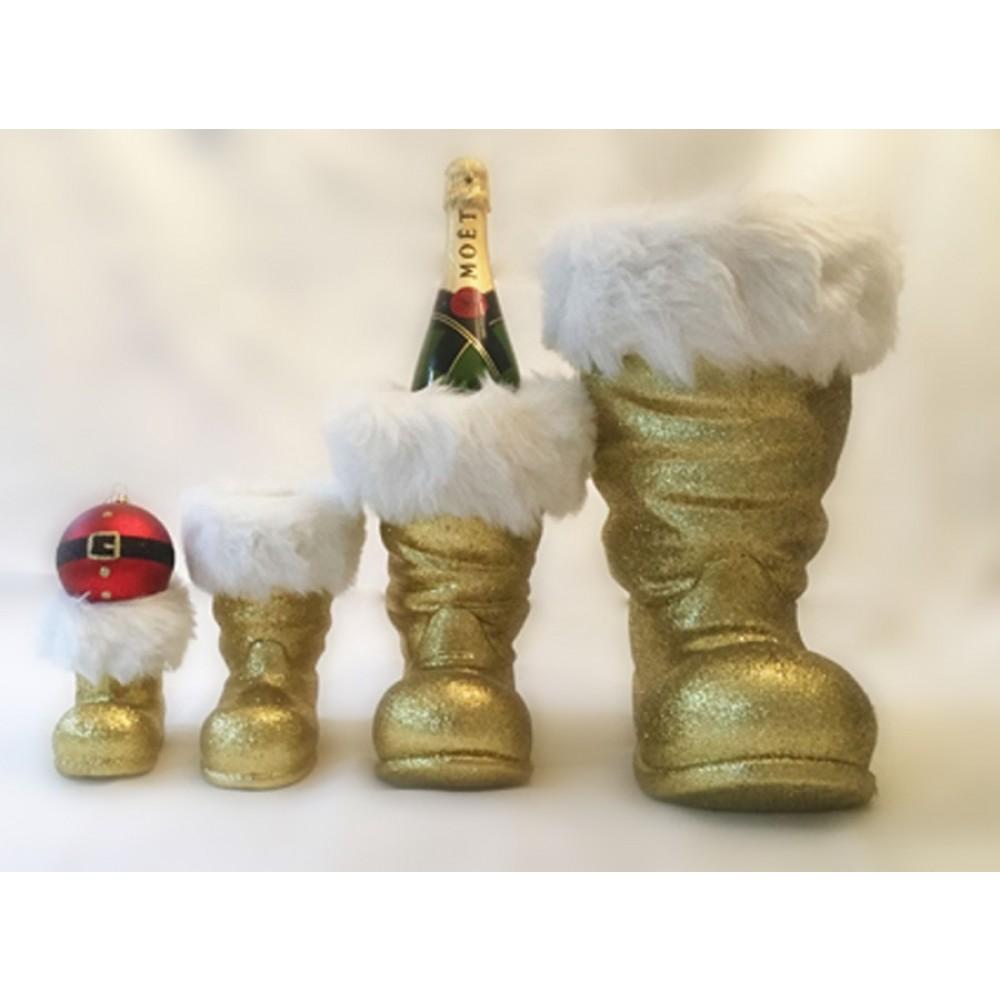 Julemandens støvle, 13 cm guld glitter-01