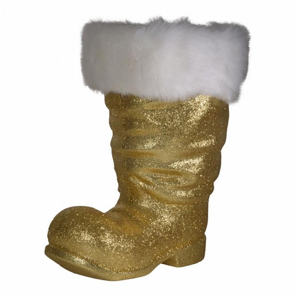 Julemandens støvle, 40 cm guld glitter-33