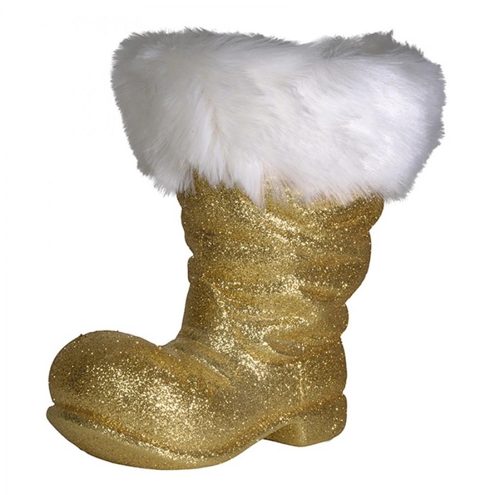 Julemandens støvle, 26 cm guld glitter-33