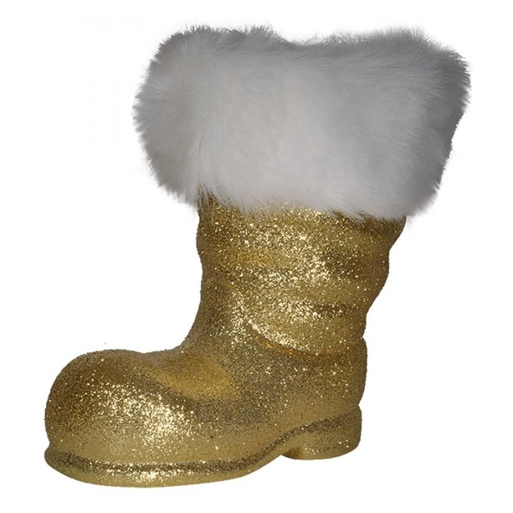 Julemandens støvle, 19 cm guld glitter-33
