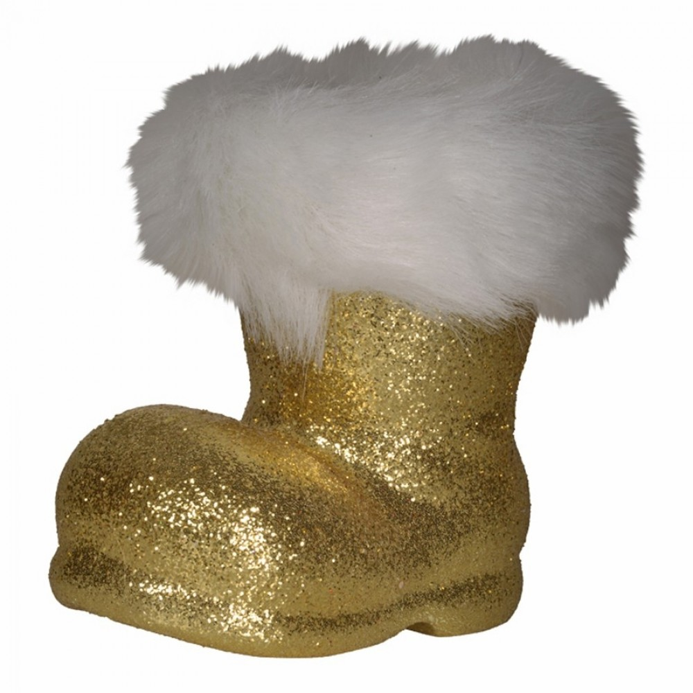 Julemandens støvle, 13 cm guld glitter-31