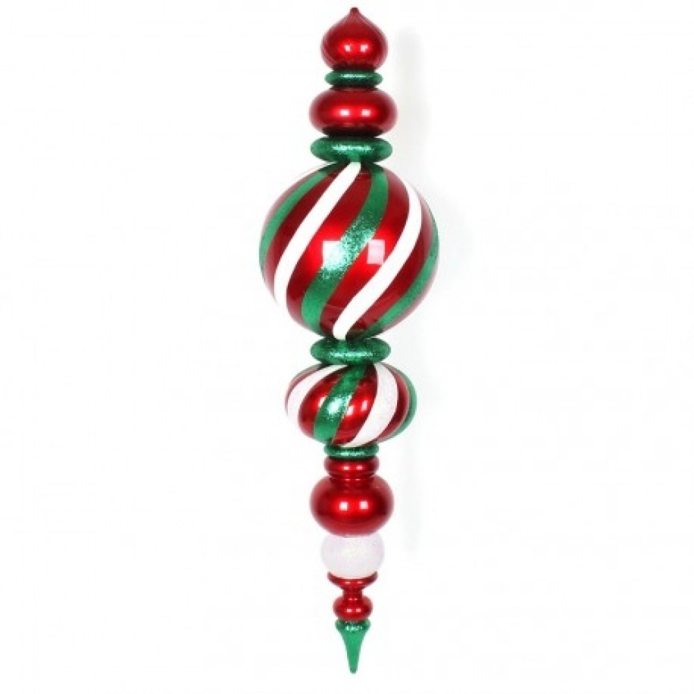 157 cm finial, rødt med hvidt og grønt glitter-31