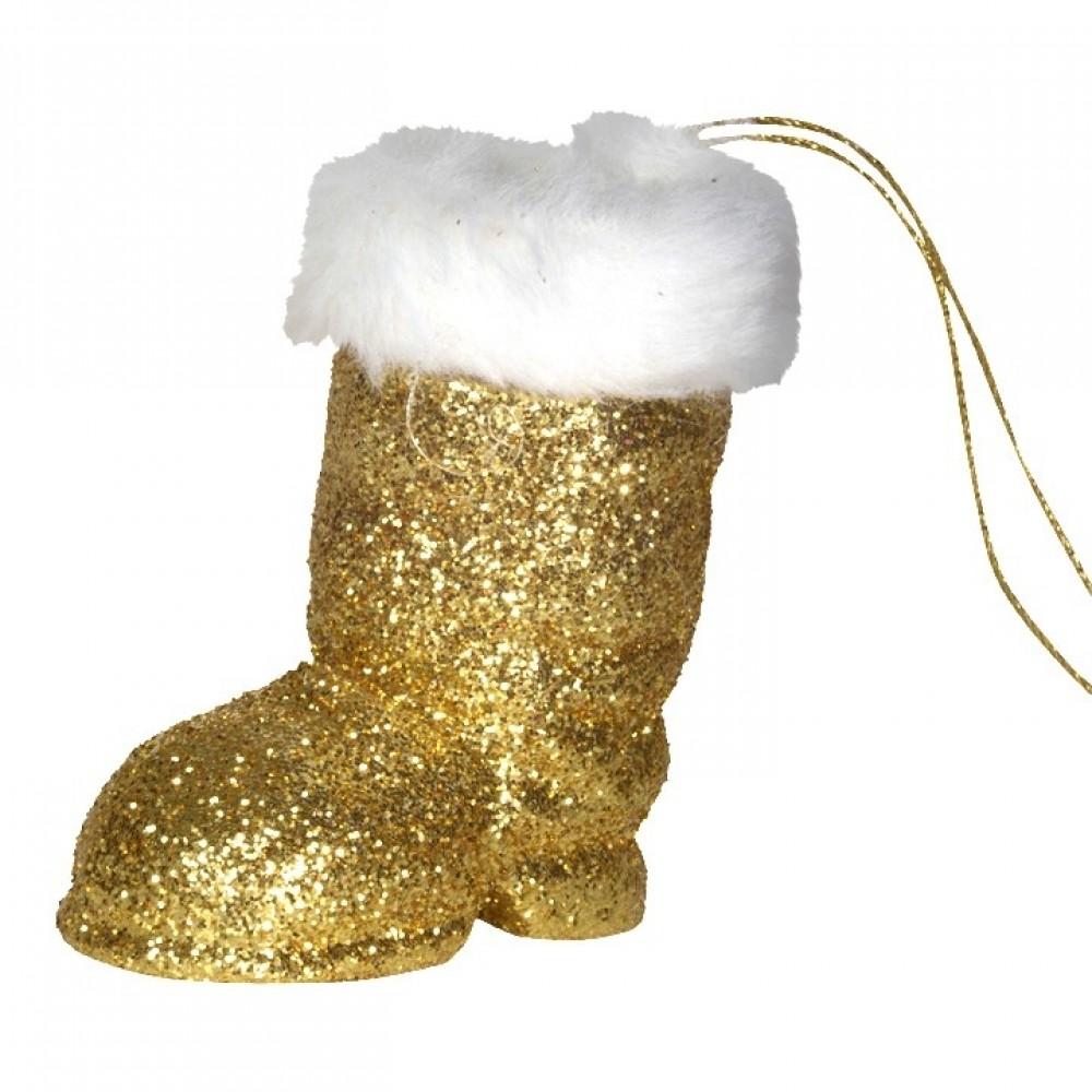 Julemandens støvle, 7 cm guld glitter-31