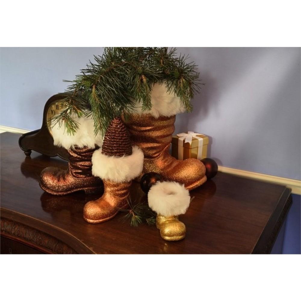 Julemandens støvle, 13 cm, kobber glitter-02