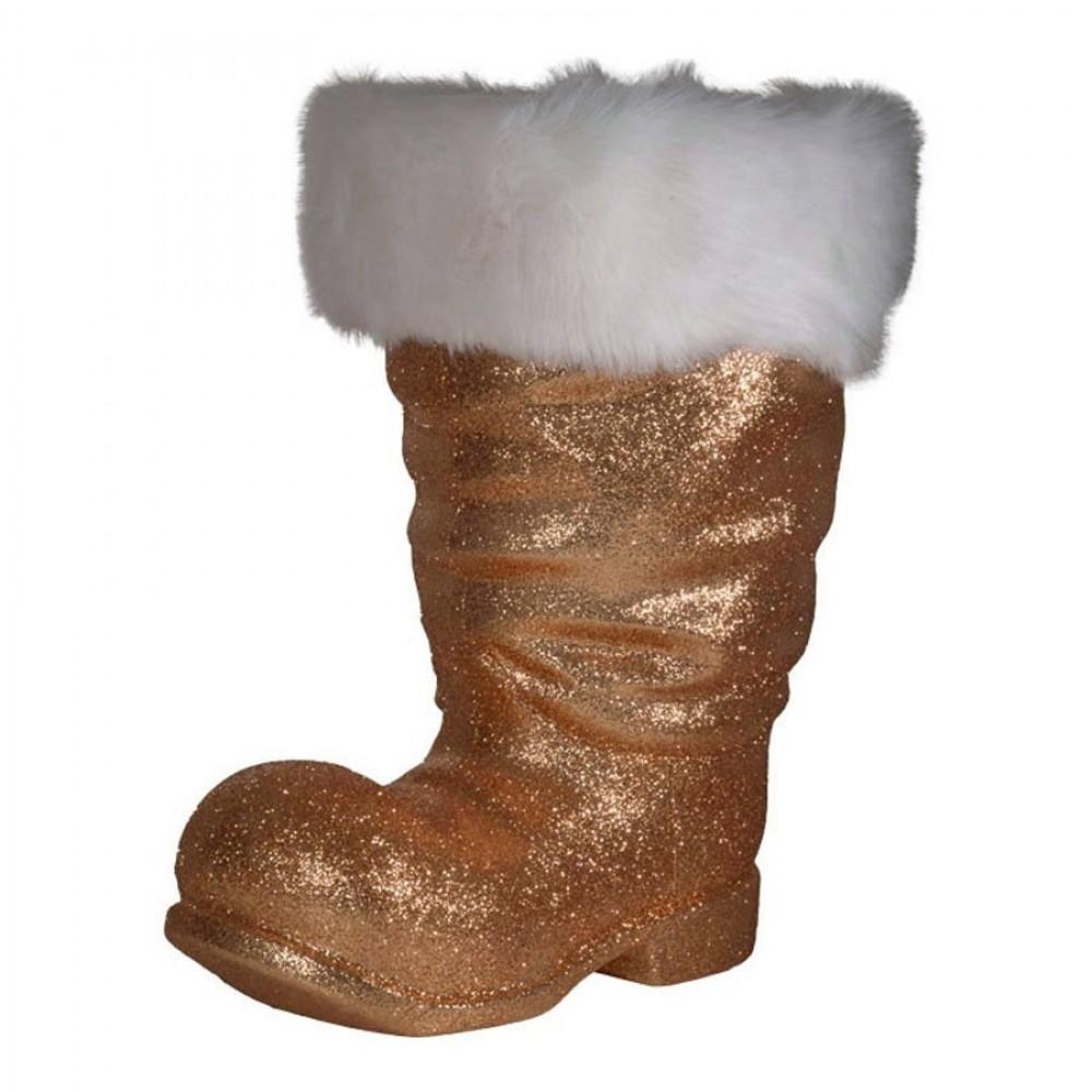 Julemandens støvle, 40 cm, kobber glitter-32