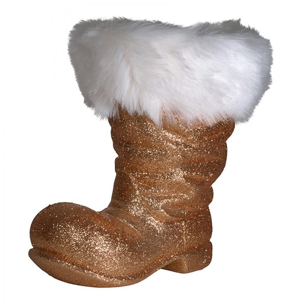 Julemandens støvle, 26 cm, kobber glitter-32