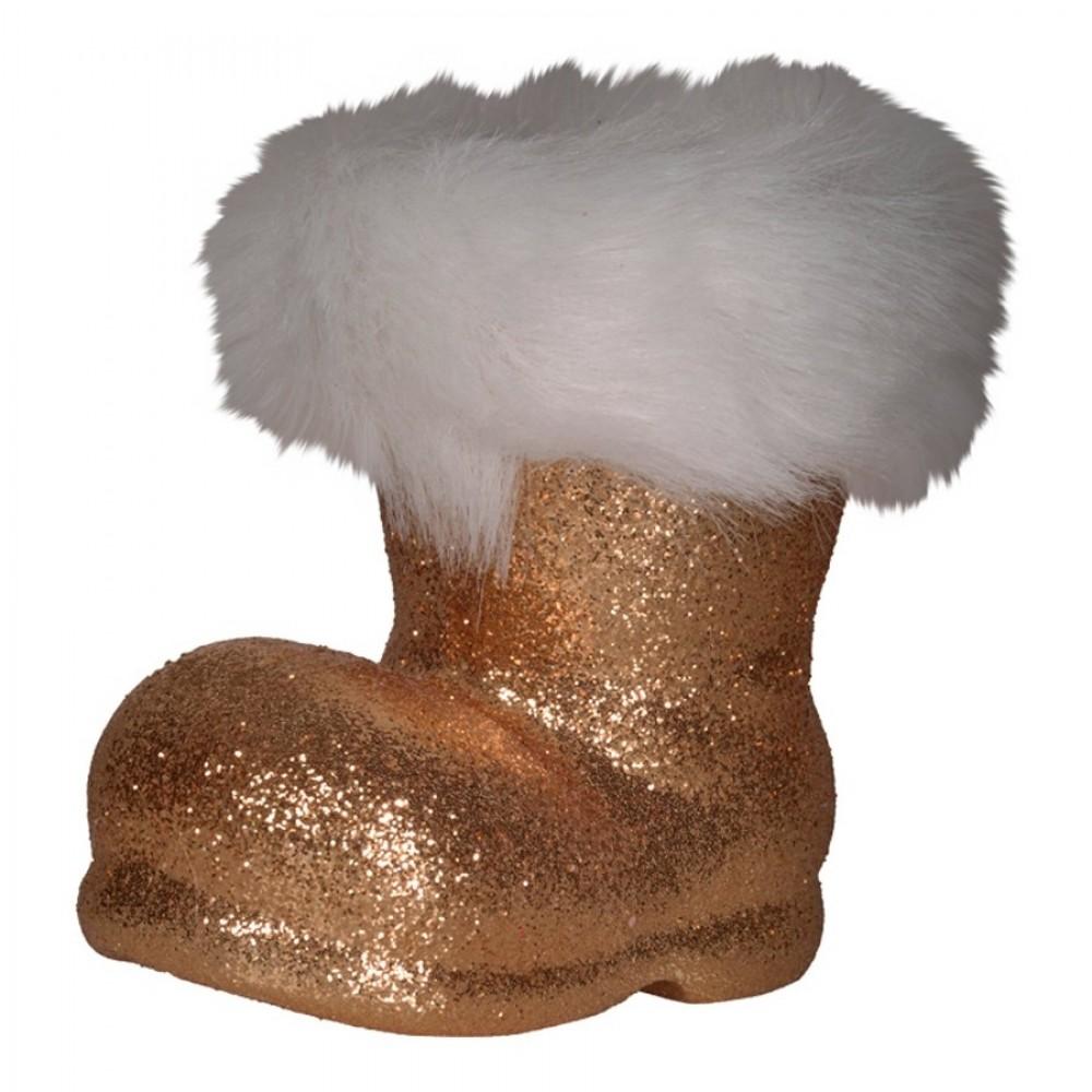 Julemandens støvle, 13 cm, kobber glitter-32
