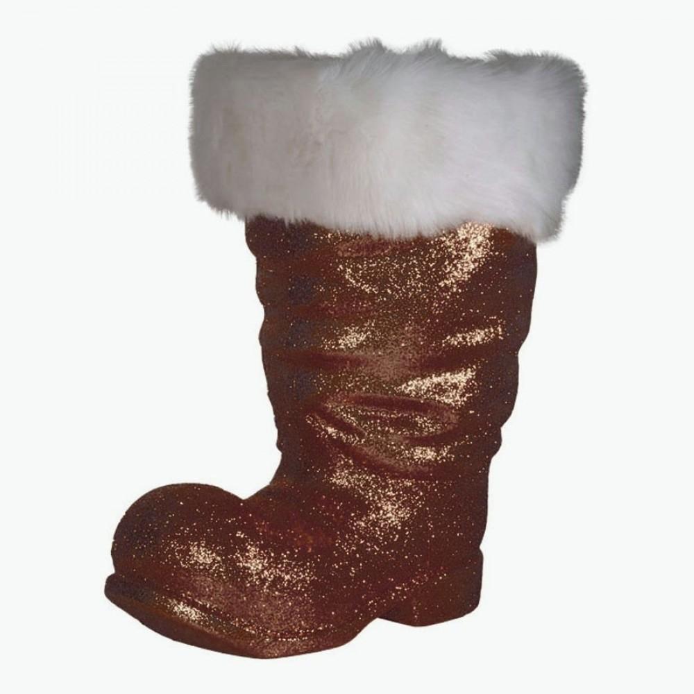 Julemandens støvle, 40 cm, choko glitter-31