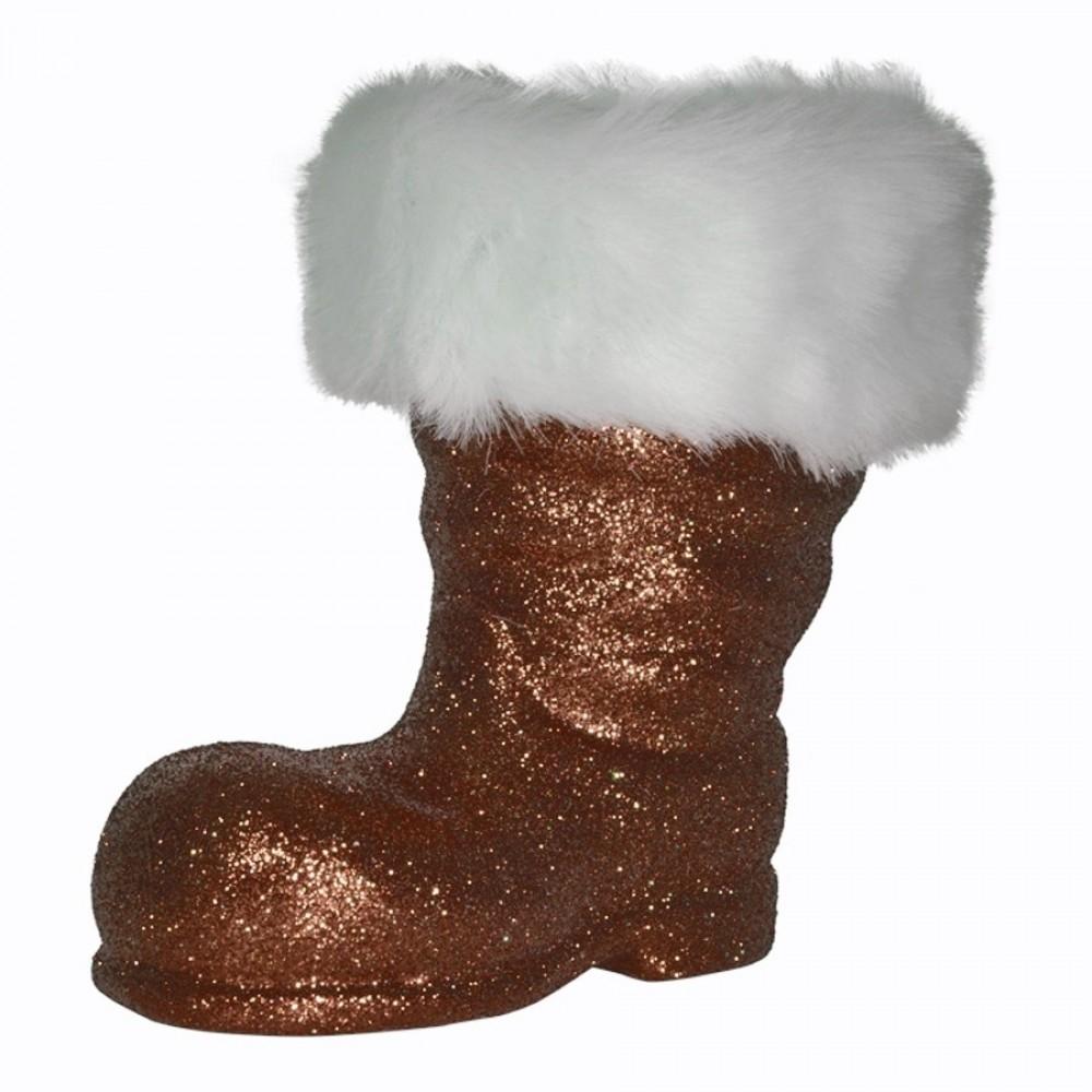 Julemandens støvle, 19 cm, choko glitter-32
