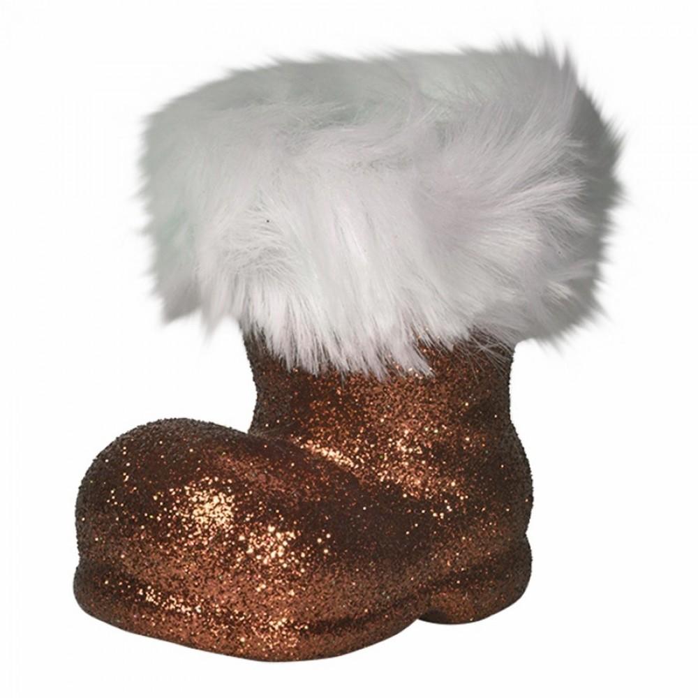 Julemandens støvle, 13 cm, choko glitter-32