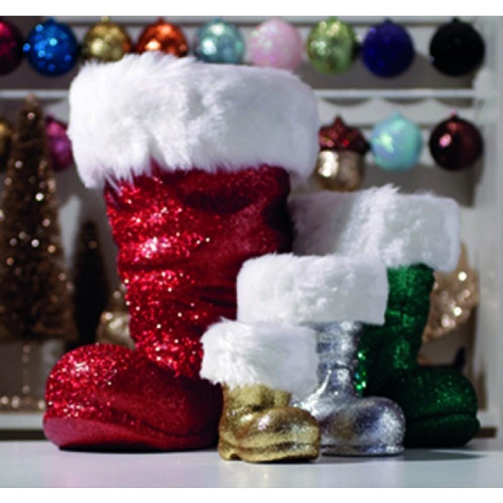 Julemandens støvle, 19 cm, sølv glitter-01
