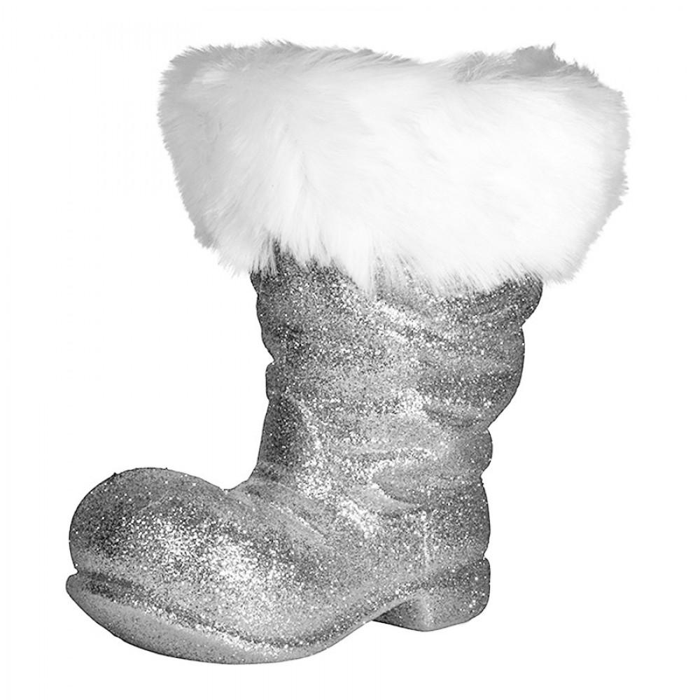 Julemandens støvle, 26 cm, sølv glitter-31