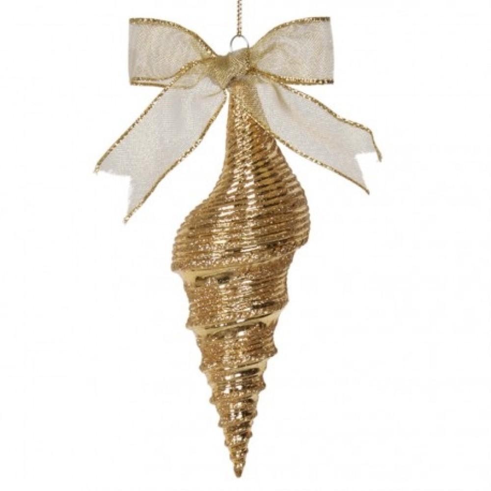 17 cm konkylie, glitter, guld-31