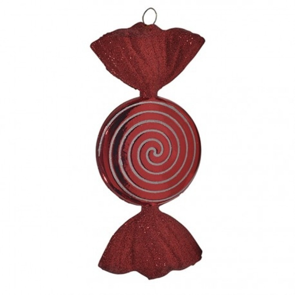 18 cm slik, rød med rødt glitter, flad, rund-31