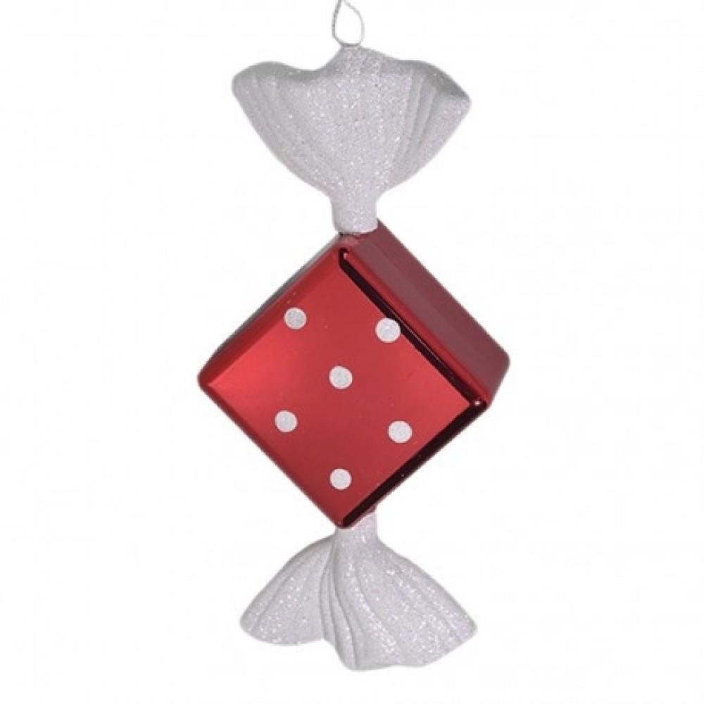 19 cm slik, rød med hvidt glitter, diamond-31