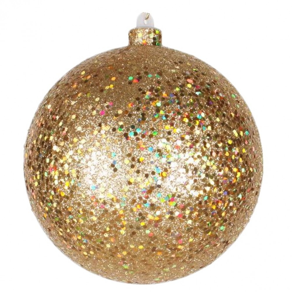 20 cm julekugle, guld, laserglitter-31