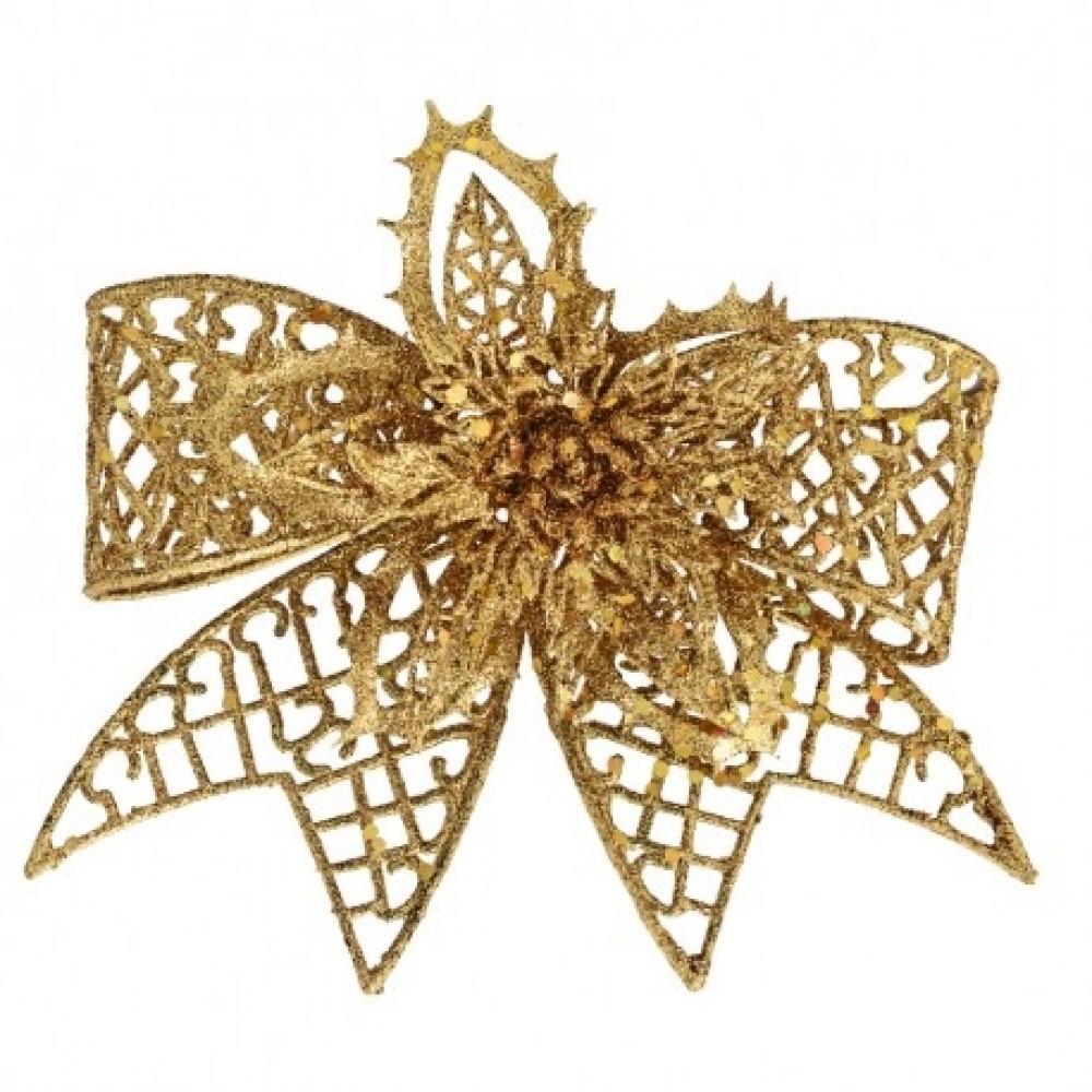 20 cm clip-on sløjfe, guld glitter-31