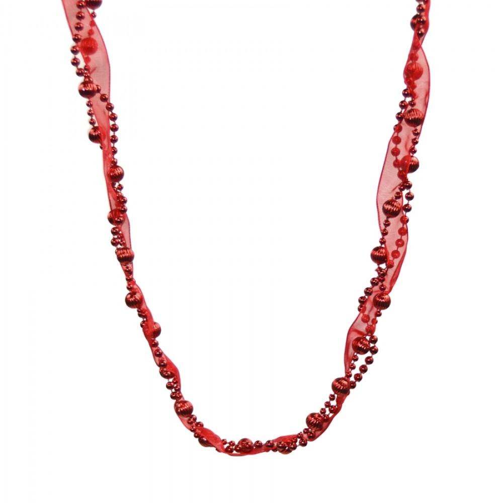 Guirlande, 2,5 meter, rød m/bånd-31