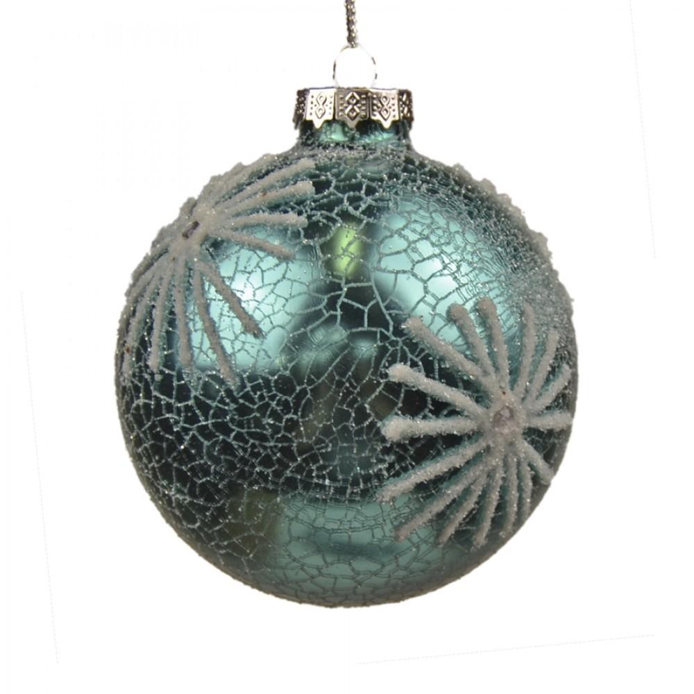 8 cm julekugler, 3 stk, turkis crackle m/hvidt glitter, glas-01