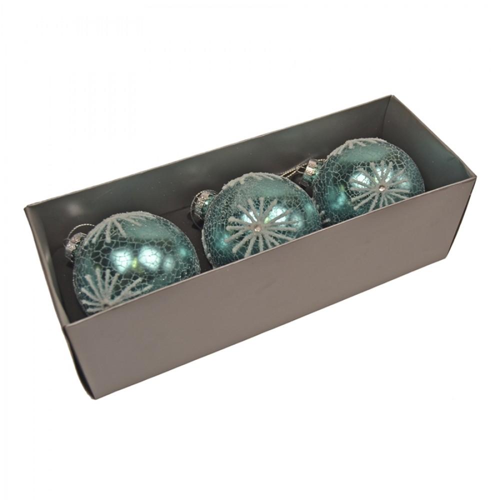 8 cm julekugler, 3 stk, turkis crackle m/hvidt glitter, glas-31