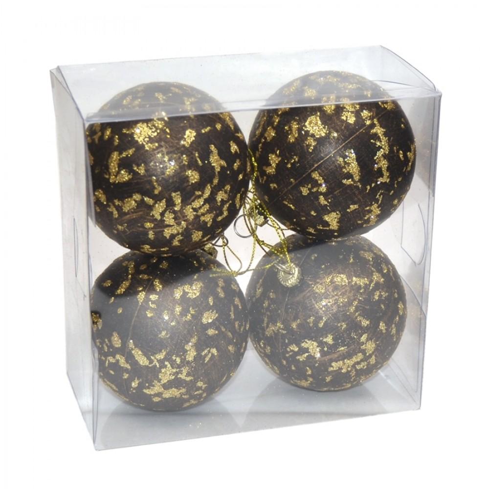 7 cm julekugle, 4 stk i boks, antik brun med guldglitter-31
