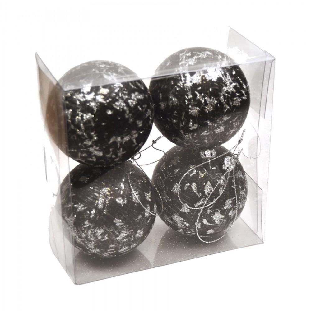 7 cm julekugler, 4 stk, sort m/sølv deko-31