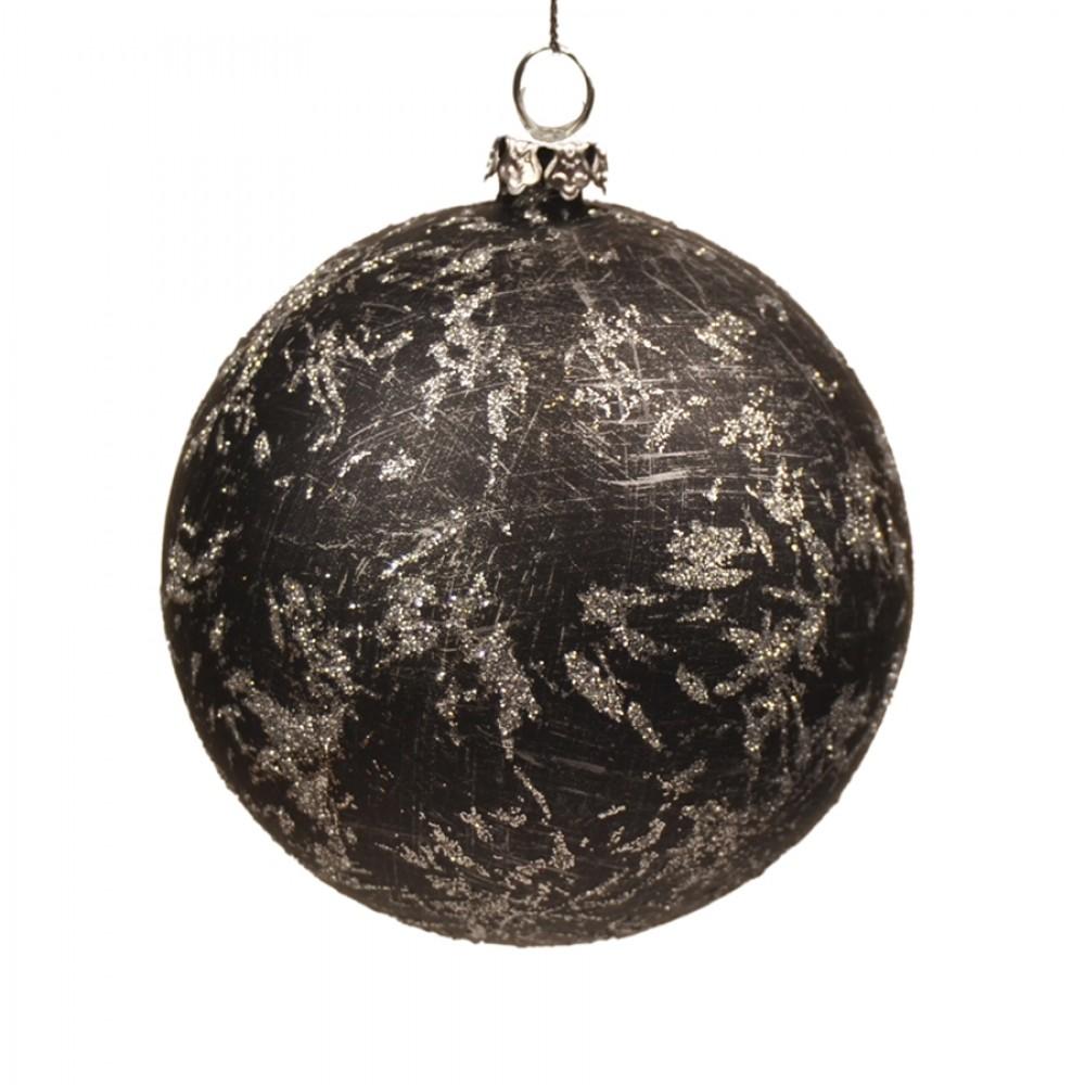 7 cm julekugler, 4 stk, sort m/sølv deko-01