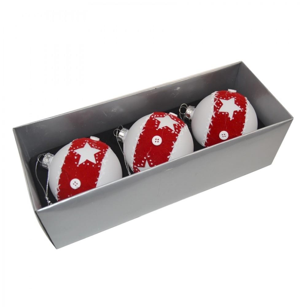 8 cm julekugler, 3 stk, hvid med rødt stofdeko-31