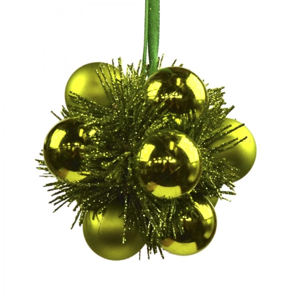 Julekugle, lime, 9 cm, plast-31