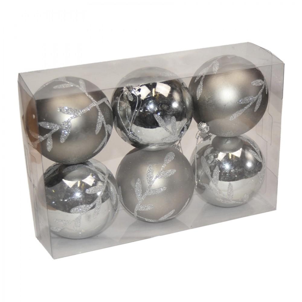 7 cm julekugler, 6 stk, gunpowder, mat/blank m/sølvglitter-31
