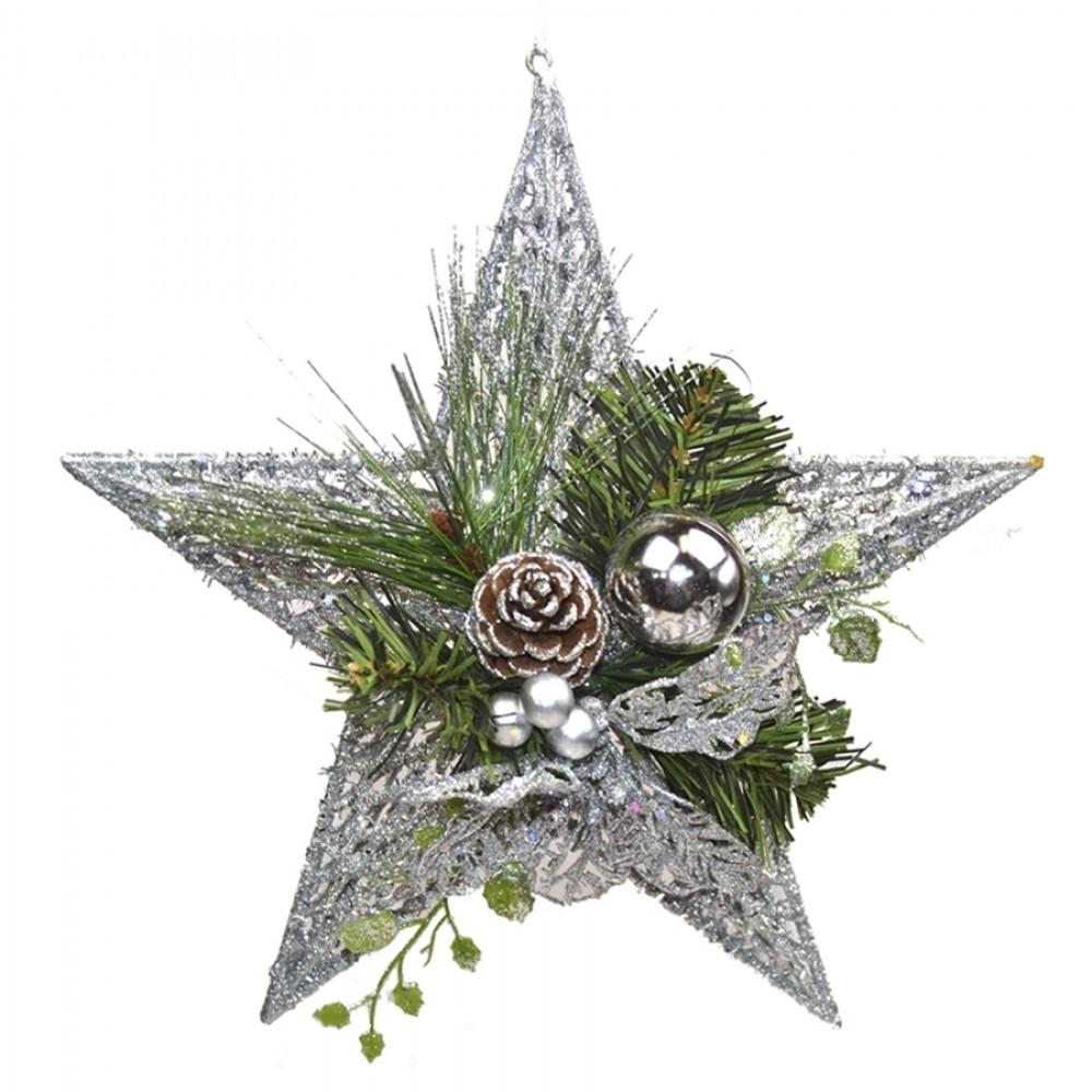 Stjerne, m/dekoration, sølv, metal, 29 cm-31