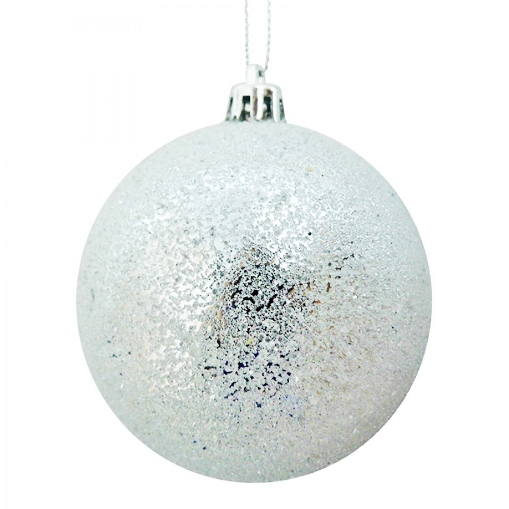 8 cm julekugle, frost, sølv-33
