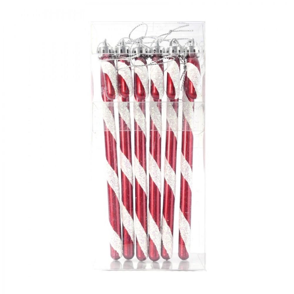 15 cm slikstok, perlemor rød med hvidt glitter, 6 stk i boks-01