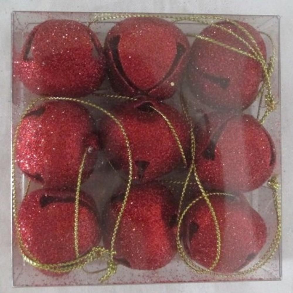 30 mm bjælder, rødt glitter-31