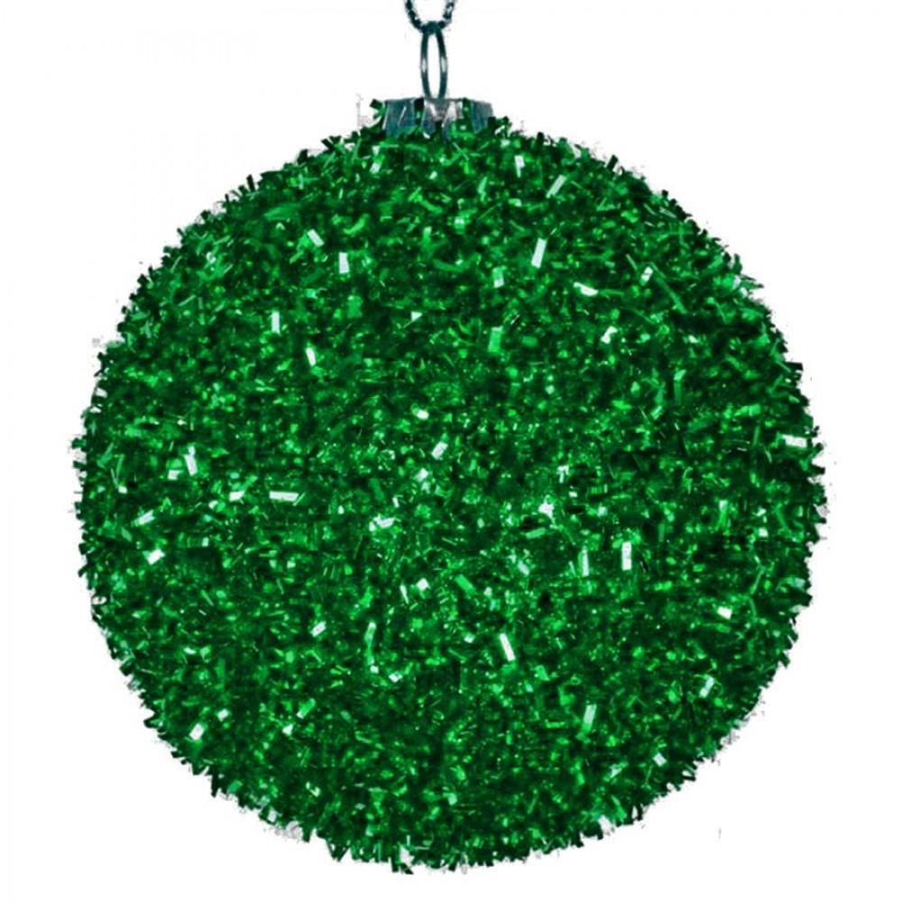 8 cm julekugle, grovglitter, grøn-31